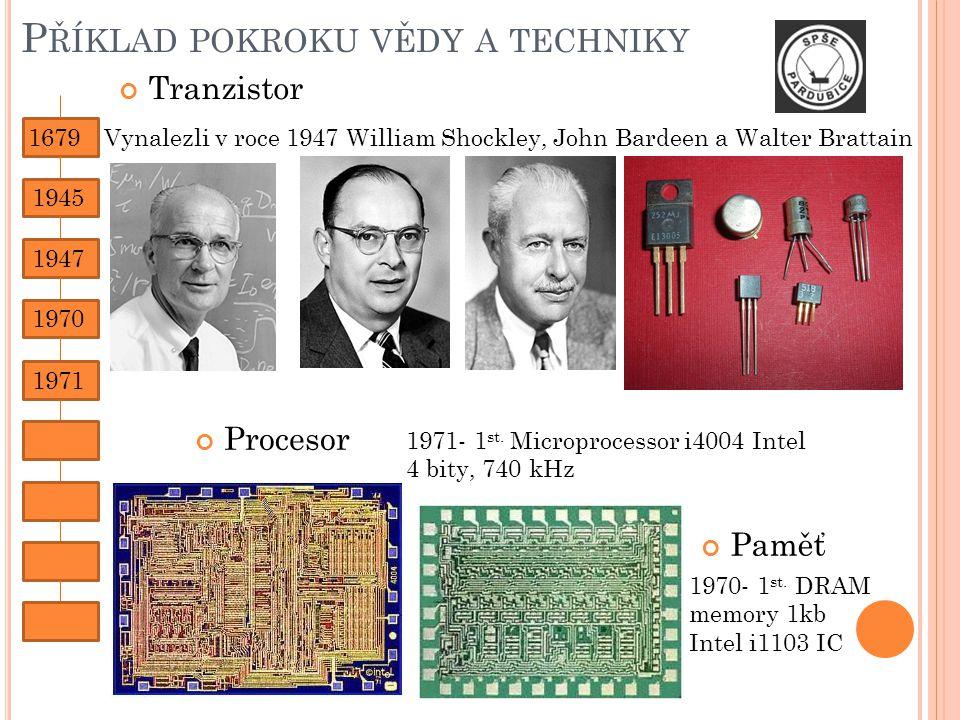 P ŘÍKLAD POKROKU VĚDY A TECHNIKY Vynalezli v roce 1947 William Shockley, John Bardeen a Walter Brattain Tranzistor Procesor 1971- 1 st.