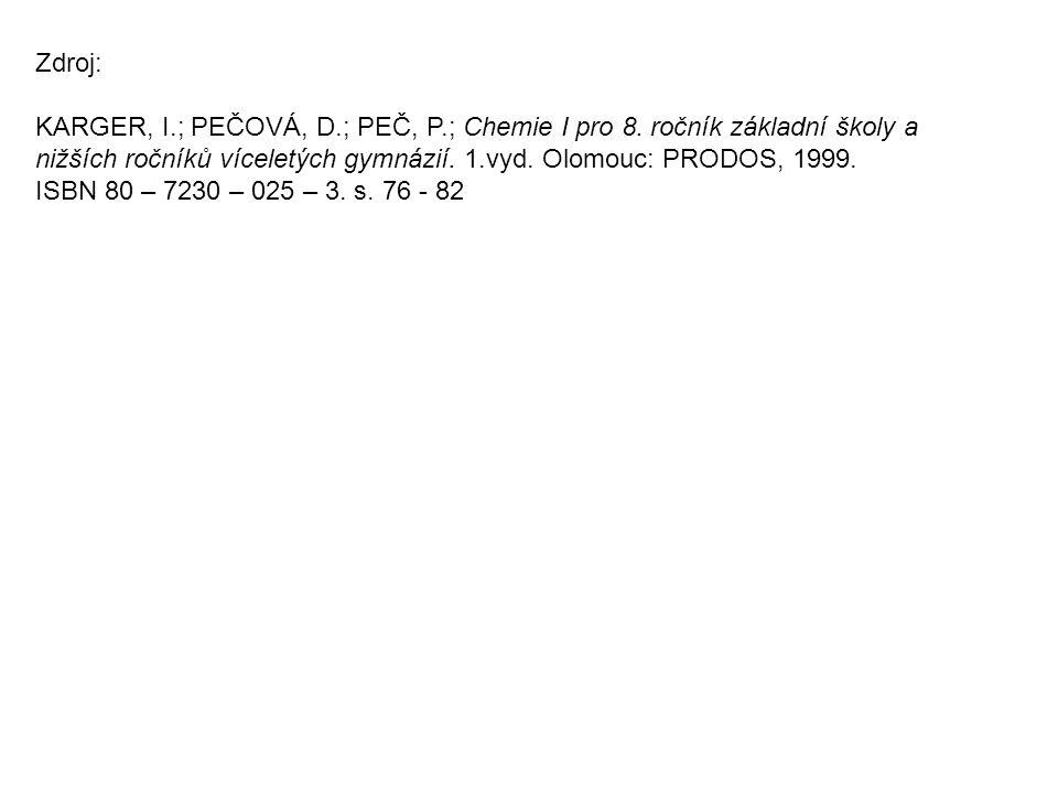 Zdroj: KARGER, I.; PEČOVÁ, D.; PEČ, P.; Chemie I pro 8. ročník základní školy a nižších ročníků víceletých gymnázií. 1.vyd. Olomouc: PRODOS, 1999. ISB