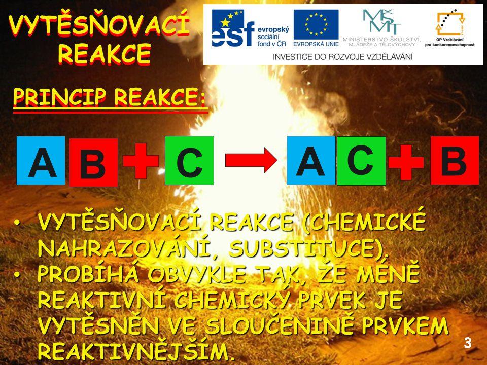 3 VYTĚSŇOVACÍ REAKCE VYTĚSŇOVACÍ REAKCE PRINCIP REAKCE: VYTĚSŇOVACÍ REAKCE (CHEMICKÉ NAHRAZOVÁNÍ, SUBSTITUCE).