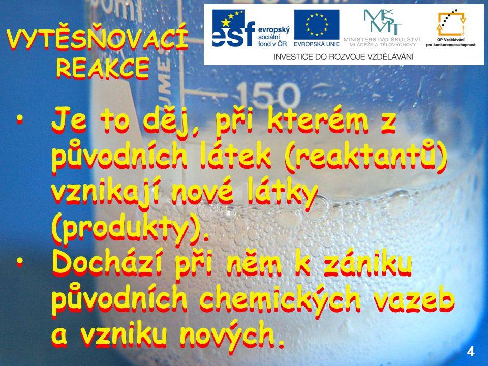 4 VYTĚSŇOVACÍ REAKCE VYTĚSŇOVACÍ REAKCE Je to děj, při kterém z původních látek (reaktantů) vznikají nové látky (produkty).