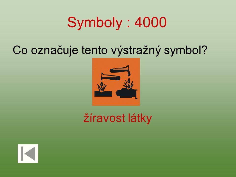 Symboly : 4000 Co označuje tento výstražný symbol žíravost látky