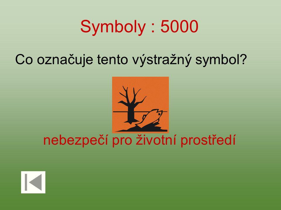Symboly : 5000 Co označuje tento výstražný symbol? nebezpečí pro životní prostředí