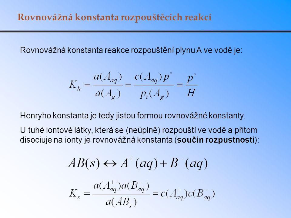 Rovnovážná konstanta rozpouštěcích reakcí Rovnovážná konstanta reakce rozpouštění plynu A ve vodě je: Henryho konstanta je tedy jistou formou rovnovážné konstanty.
