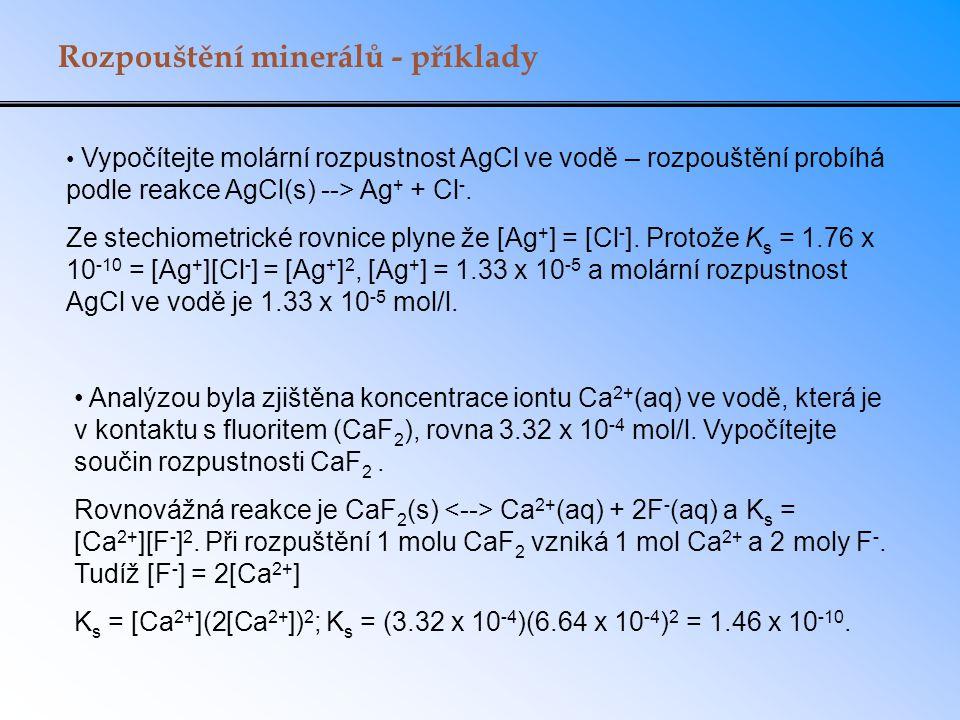 Rozpouštění minerálů - příklady Vypočítejte molární rozpustnost AgCl ve vodě – rozpouštění probíhá podle reakce AgCl(s) --> Ag + + Cl -.