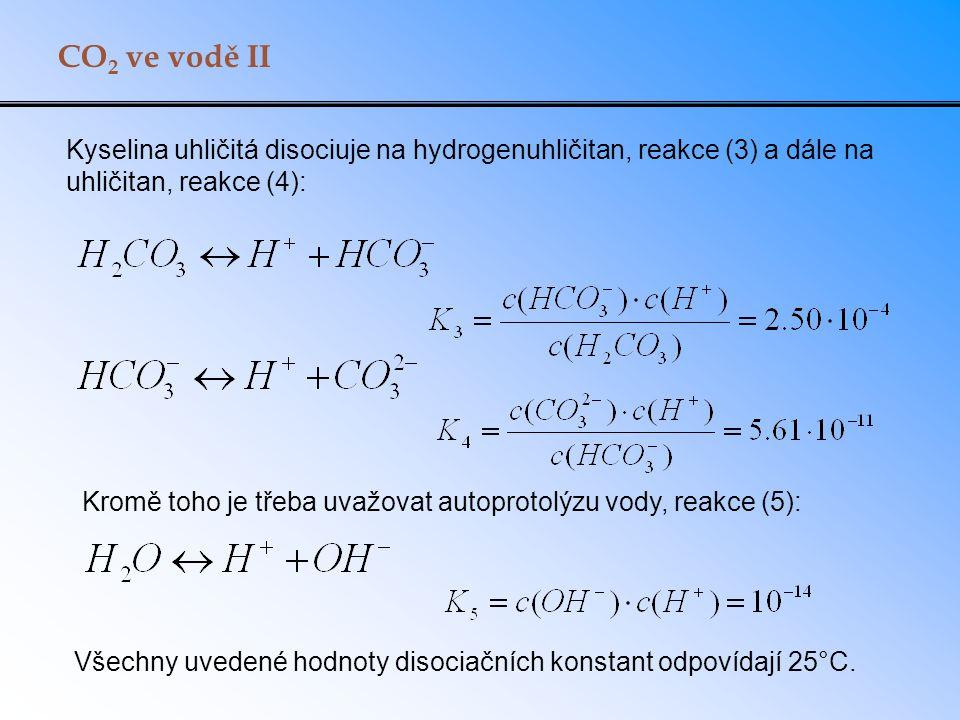 CO 2 ve vodě II Kyselina uhličitá disociuje na hydrogenuhličitan, reakce (3) a dále na uhličitan, reakce (4): Kromě toho je třeba uvažovat autoprotolýzu vody, reakce (5): Všechny uvedené hodnoty disociačních konstant odpovídají 25°C.