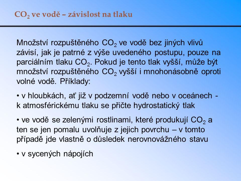 CO 2 ve vodě – závislost na tlaku Množství rozpuštěného CO 2 ve vodě bez jiných vlivů závisí, jak je patrné z výše uvedeného postupu, pouze na parciálním tlaku CO 2.