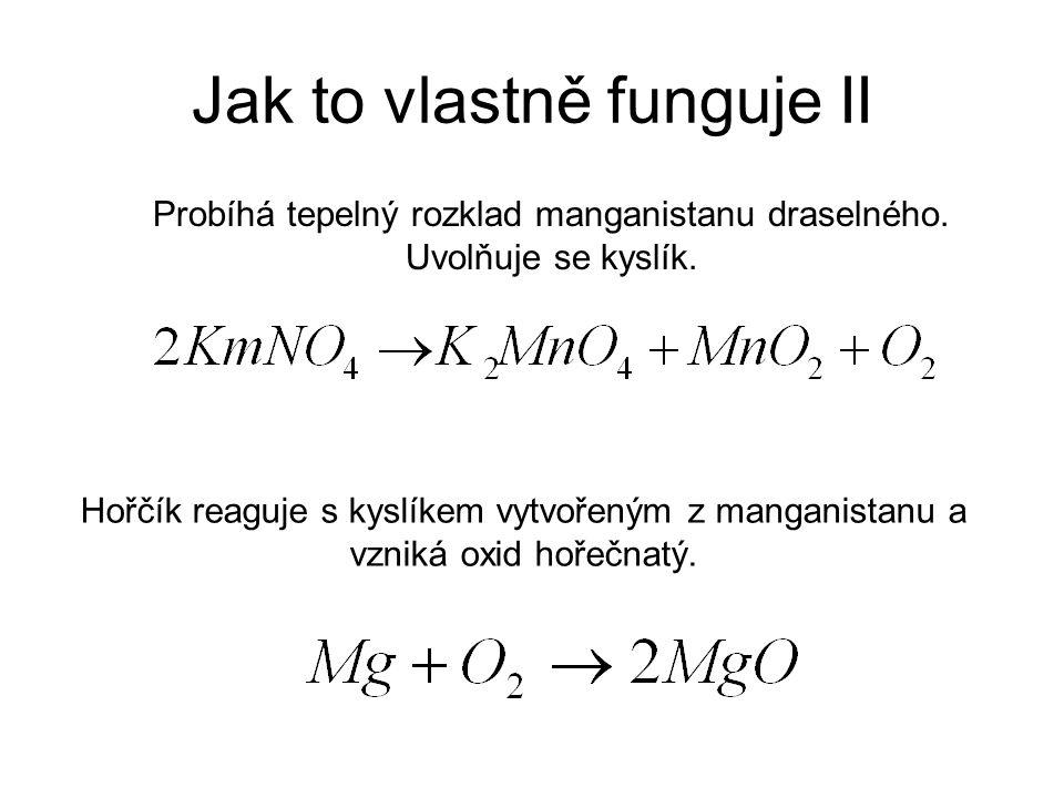 Jak to vlastně funguje II Probíhá tepelný rozklad manganistanu draselného. Uvolňuje se kyslík. Hořčík reaguje s kyslíkem vytvořeným z manganistanu a v