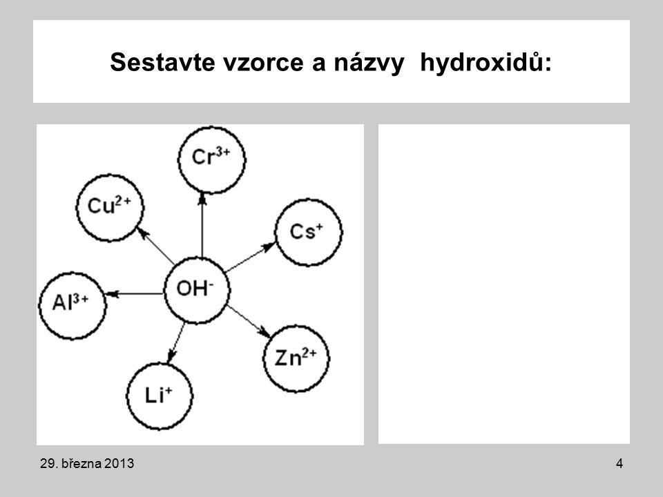 Sestavte vzorce a názvy hydroxidů: 29. března 20134