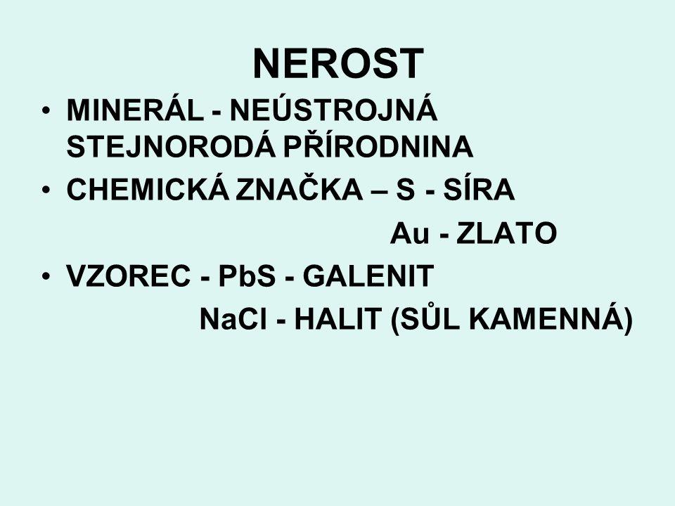 NEROST MINERÁL - NEÚSTROJNÁ STEJNORODÁ PŘÍRODNINA CHEMICKÁ ZNAČKA – S - SÍRA Au - ZLATO VZOREC - PbS - GALENIT NaCl - HALIT (SŮL KAMENNÁ)