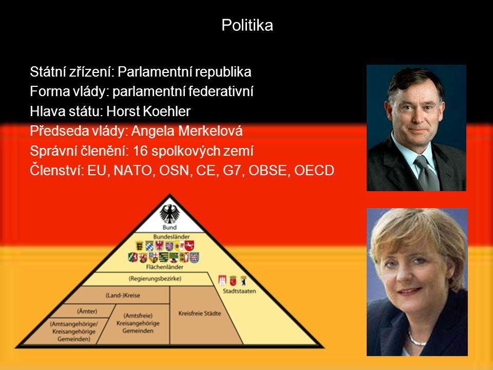 Politika Státní zřízení: Parlamentní republika Forma vlády: parlamentní federativní Hlava státu: Horst Koehler Předseda vlády: Angela Merkelová Správn