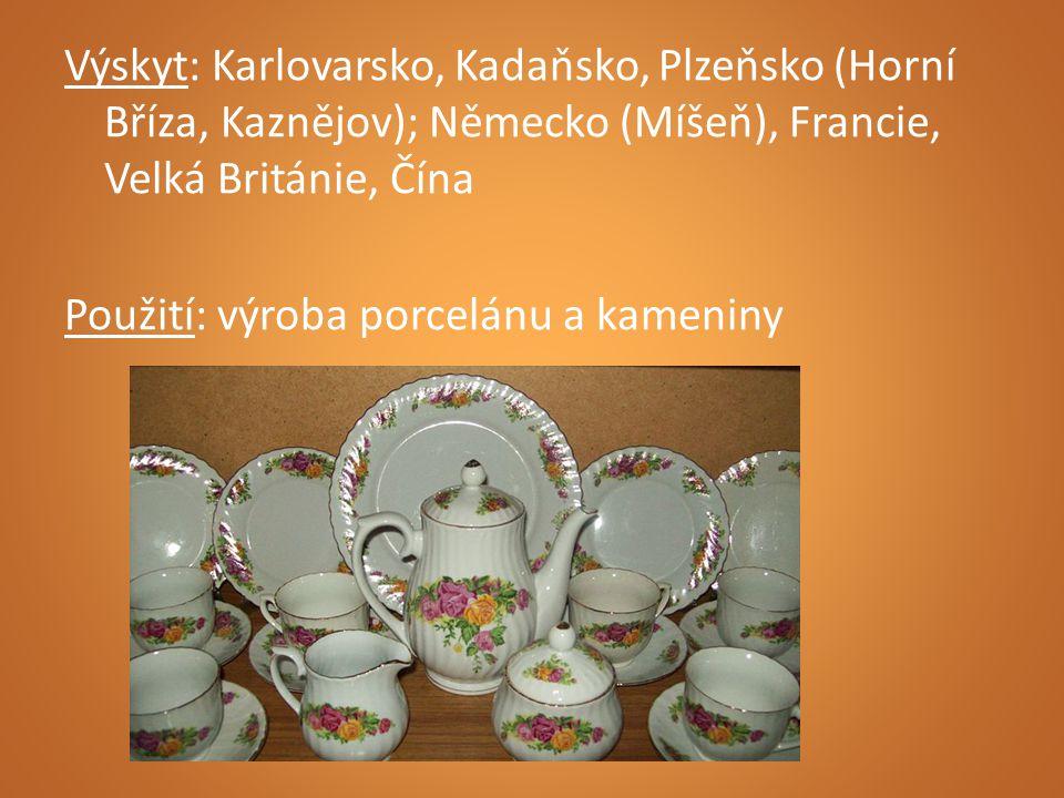 Výskyt: Karlovarsko, Kadaňsko, Plzeňsko (Horní Bříza, Kaznějov); Německo (Míšeň), Francie, Velká Británie, Čína Použití: výroba porcelánu a kameniny