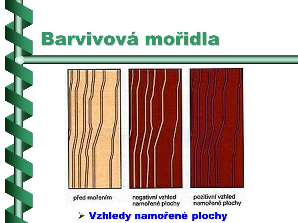 Barvivová mořidla PPPProdávají se barvivová mořidla m.j. pod označením vodní, na tvrdé dřevo, antik, rustikální, rozpouštědlová, olejová a lihová.