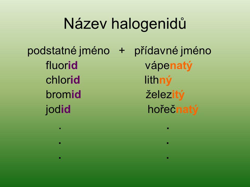 Název halogenidů podstatné jméno + přídavné jméno fluorid vápenatý chlorid lithný bromid železitý jodid hořečnatý...
