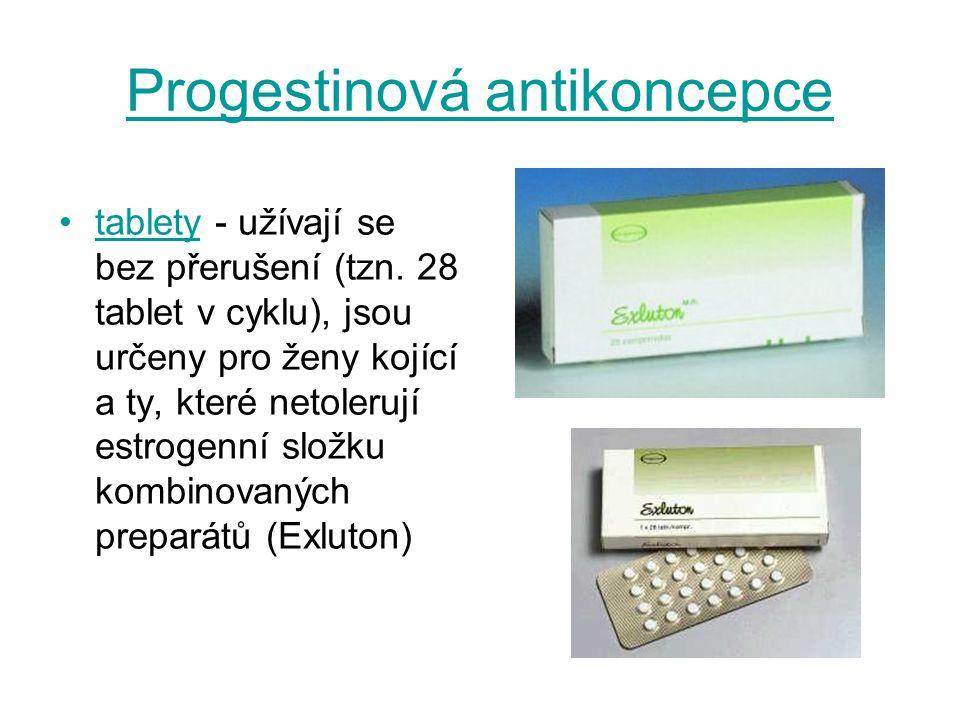 Progestinová antikoncepce tablety - užívají se bez přerušení (tzn. 28 tablet v cyklu), jsou určeny pro ženy kojící a ty, které netolerují estrogenní s