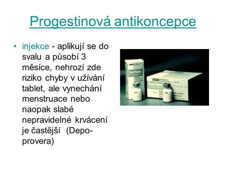 Progestinová antikoncepce injekce - aplikují se do svalu a působí 3 měsíce, nehrozí zde riziko chyby v užívání tablet, ale vynechání menstruace nebo n