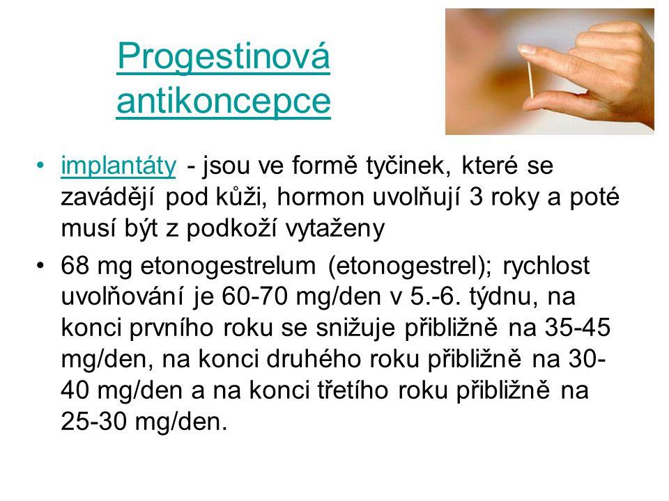 Progestinová antikoncepce implantáty - jsou ve formě tyčinek, které se zavádějí pod kůži, hormon uvolňují 3 roky a poté musí být z podkoží vytaženy 68