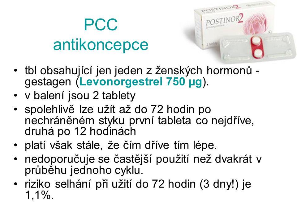 tbl obsahující jen jeden z ženských hormonů - gestagen (Levonorgestrel 750 µg). v balení jsou 2 tablety spolehlivě lze užít až do 72 hodin po nechráně