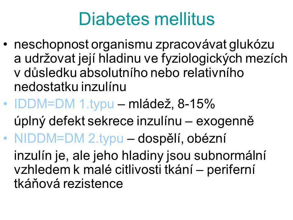 Diabetes mellitus neschopnost organismu zpracovávat glukózu a udržovat její hladinu ve fyziologických mezích v důsledku absolutního nebo relativního n