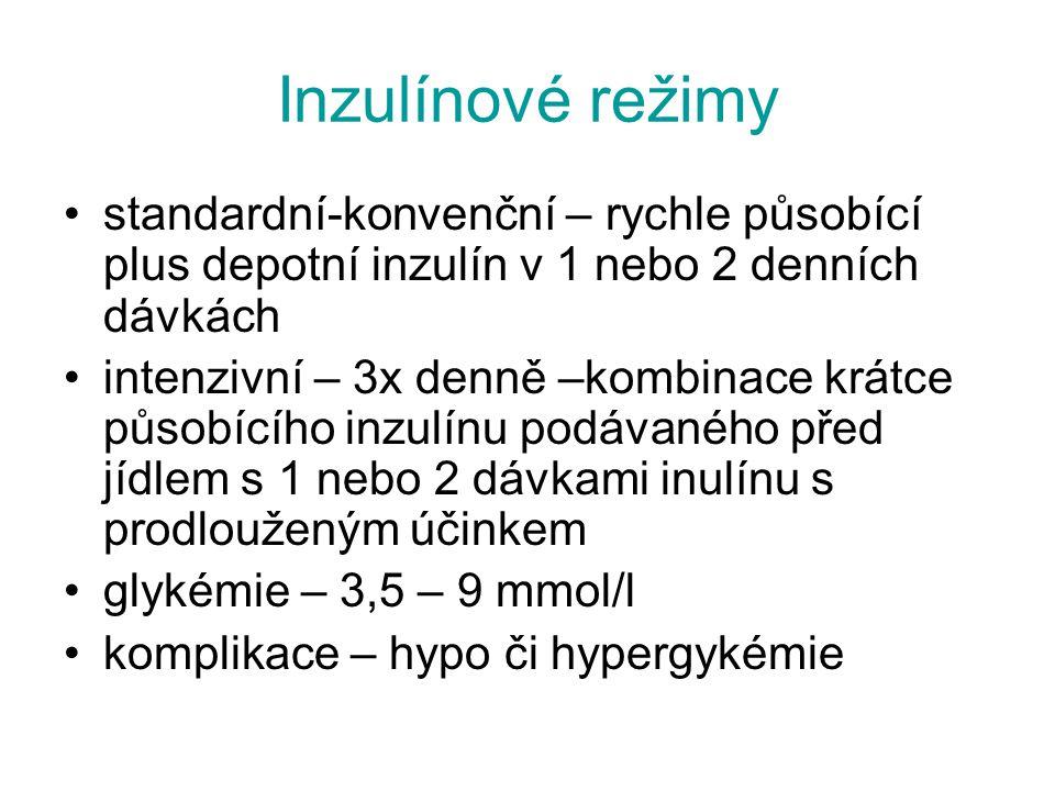 Inzulínové režimy standardní-konvenční – rychle působící plus depotní inzulín v 1 nebo 2 denních dávkách intenzivní – 3x denně –kombinace krátce působ