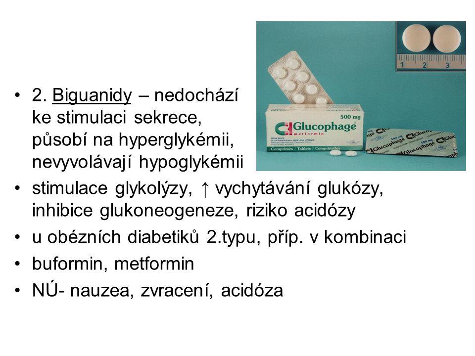 2. Biguanidy – nedochází ke stimulaci sekrece, působí na hyperglykémii, nevyvolávají hypoglykémii stimulace glykolýzy, ↑ vychytávání glukózy, inhibice