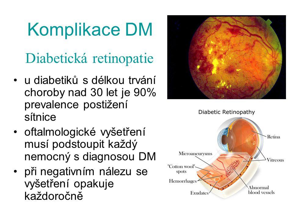 Komplikace DM u diabetiků s délkou trvání choroby nad 30 let je 90% prevalence postižení sítnice oftalmologické vyšetření musí podstoupit každý nemocn