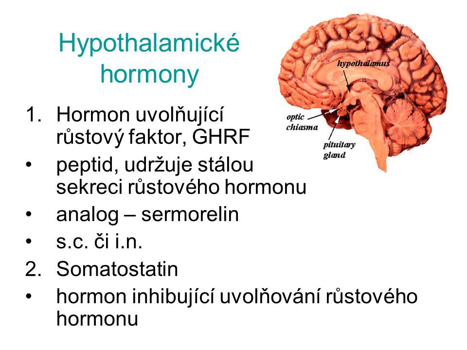 Hypothalamické hormony 1.Hormon uvolňující růstový faktor, GHRF peptid, udržuje stálou sekreci růstového hormonu analog – sermorelin s.c. či i.n. 2.So