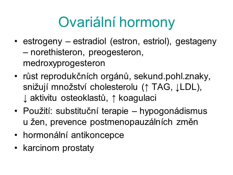 Ovariální hormony estrogeny – estradiol (estron, estriol), gestageny – norethisteron, preogesteron, medroxyprogesteron růst reprodukčních orgánů, seku
