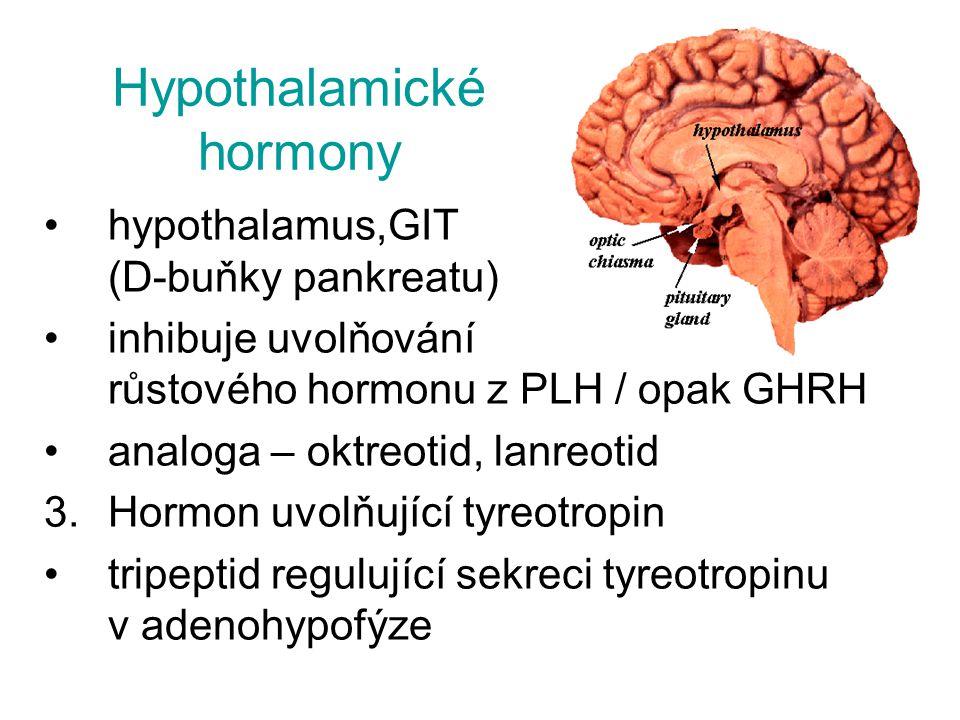Hypothalamické hormony hypothalamus,GIT (D-buňky pankreatu) inhibuje uvolňování růstového hormonu z PLH / opak GHRH analoga – oktreotid, lanreotid 3.H