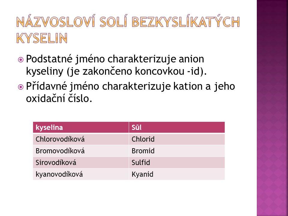 Př.: Napište vzorec chloridu vápenatého.
