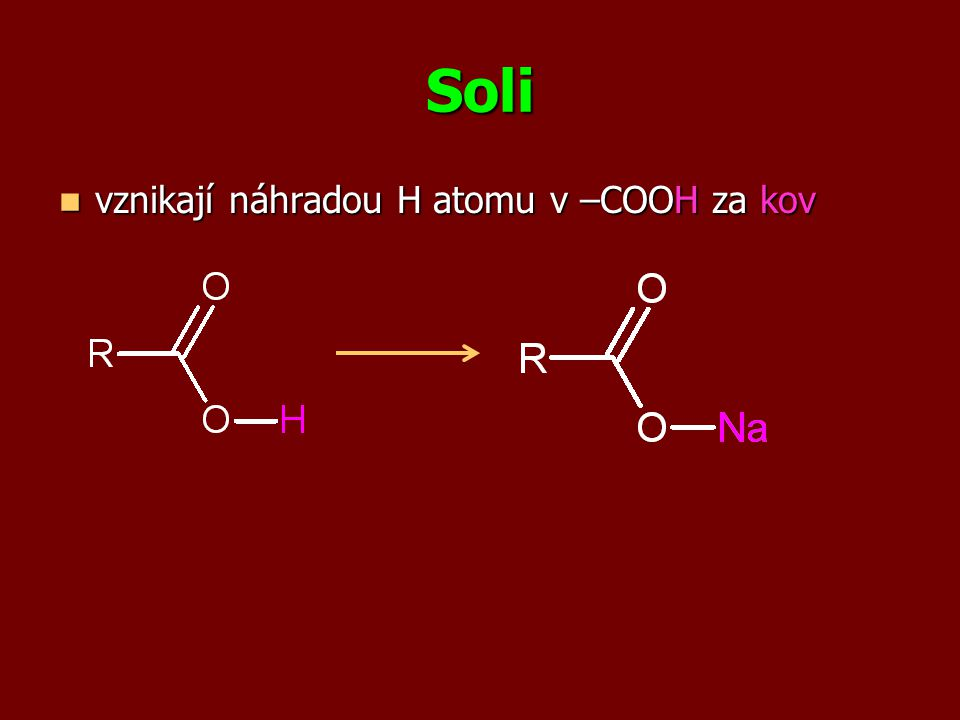 triviální název triviální název - tvořen od triviálních názvů kyselin - podst.