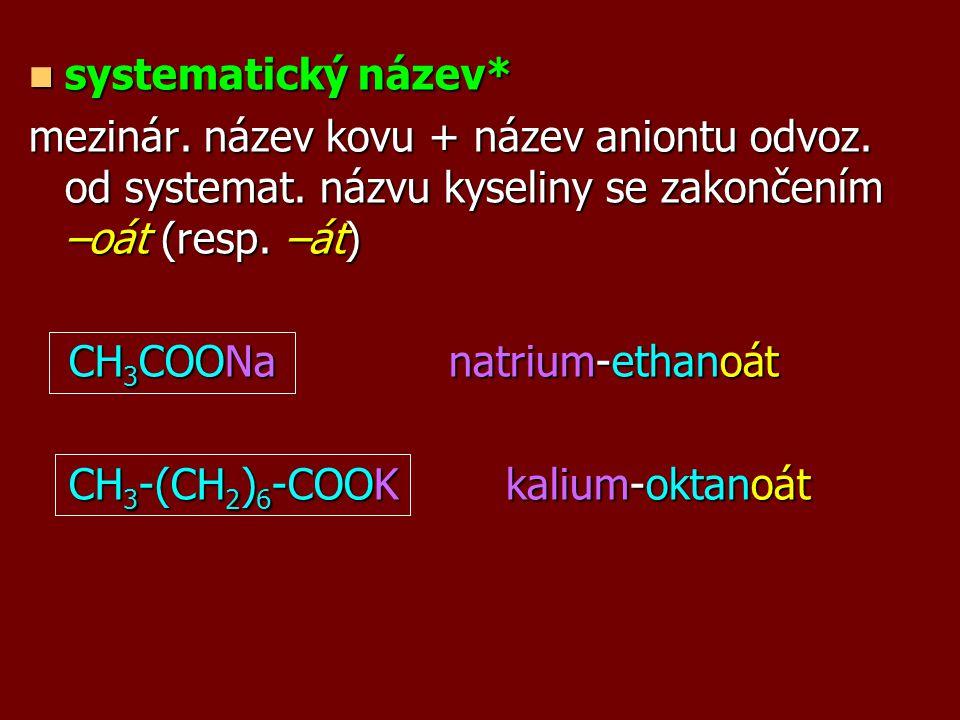 opisný název opisný název (CH 3 COO) 3 Al...hlinitá sůl kyseliny octové HCOOK...