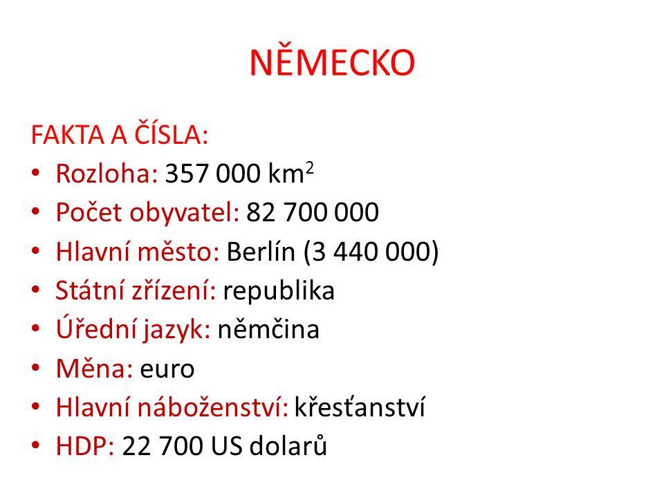 NĚMECKO FAKTA A ČÍSLA: Rozloha: 357 000 km 2 Počet obyvatel: 82 700 000 Hlavní město: Berlín (3 440 000) Státní zřízení: republika Úřední jazyk: němči