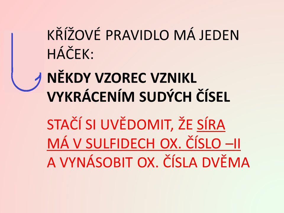 Ad A. VYUŽITÍ KŘÍŽOVÉHO PRAVIDLA: - II (1) KS 2 I sulfiddraselný K2SK2S sulfid draselný