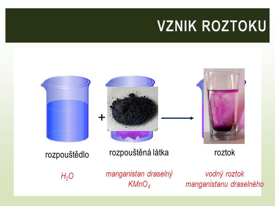 rozpouštědlo H 2 O rozpouštěná látka manganistan draselný KMnO 4 roztok vodný roztok manganistanu draselného +