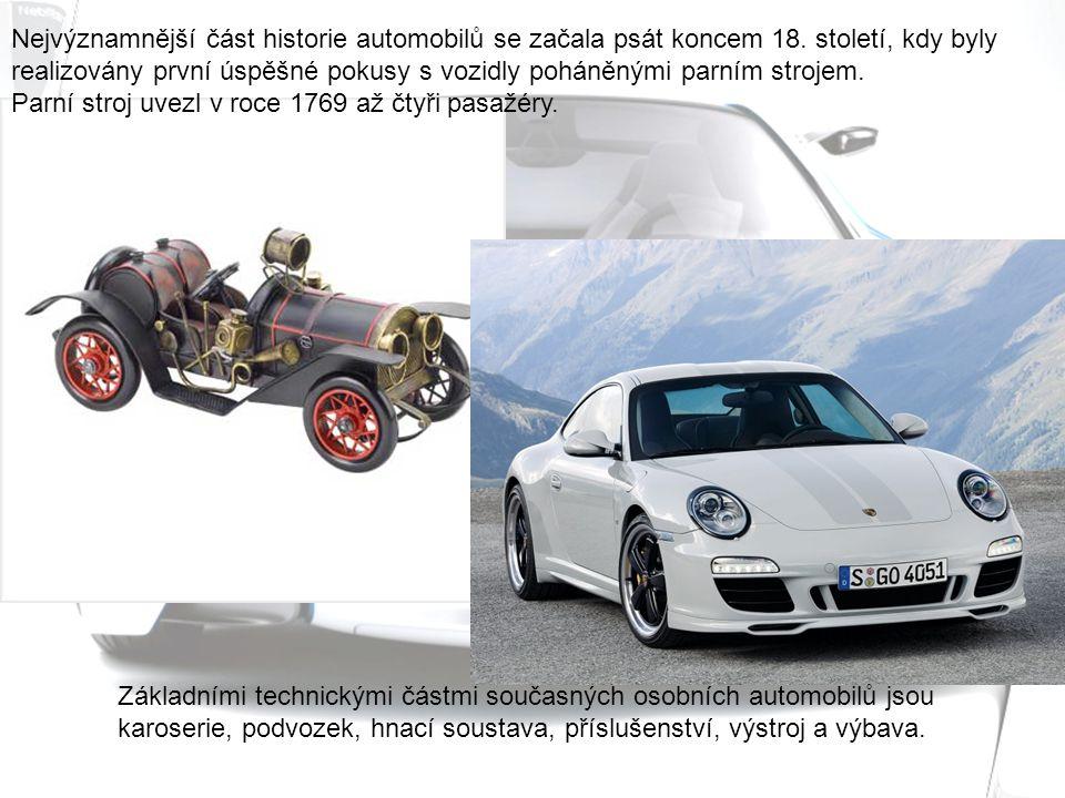 Základními technickými částmi současných osobních automobilů jsou karoserie, podvozek, hnací soustava, příslušenství, výstroj a výbava.