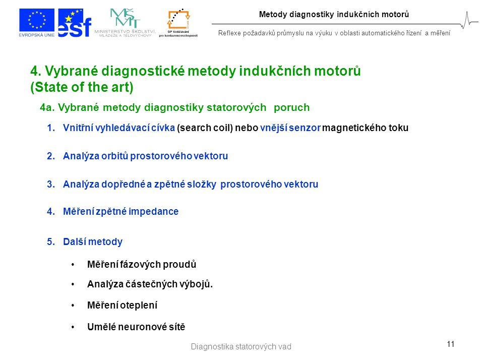 Reflexe požadavků průmyslu na výuku v oblasti automatického řízení a měření 11 4. Vybrané diagnostické metody indukčních motorů (State of the art) 1.V