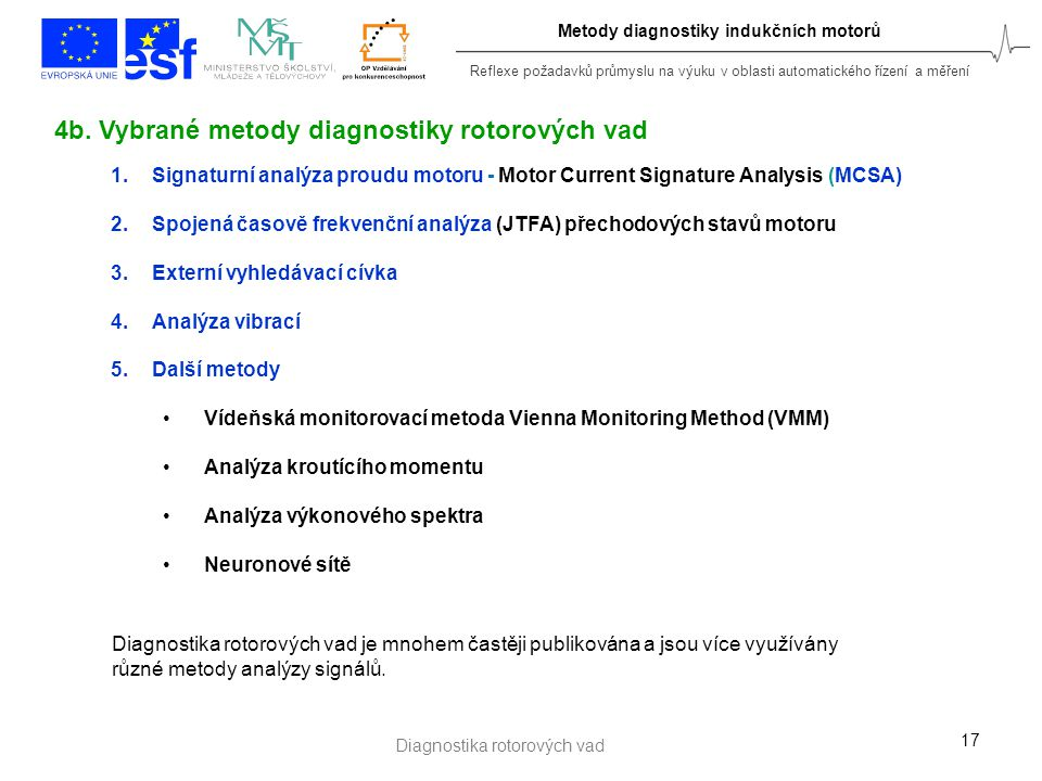 Reflexe požadavků průmyslu na výuku v oblasti automatického řízení a měření Metody diagnostiky indukčních motorů 17 1.Signaturní analýza proudu motoru