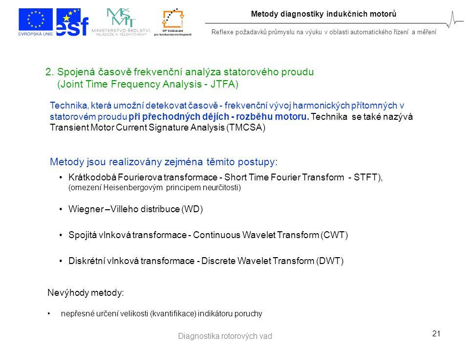 Reflexe požadavků průmyslu na výuku v oblasti automatického řízení a měření Metody diagnostiky indukčních motorů 21 2. Spojená časově frekvenční analý