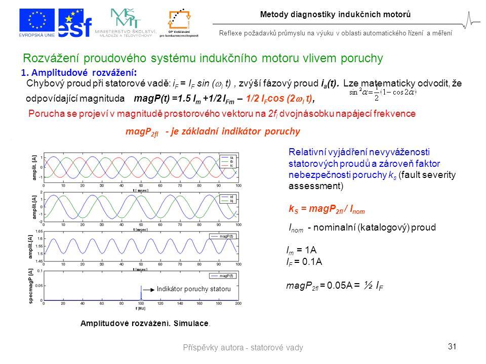 Reflexe požadavků průmyslu na výuku v oblasti automatického řízení a měření Metody diagnostiky indukčních motorů 31 1. Amplitudové rozvážení : Chybový