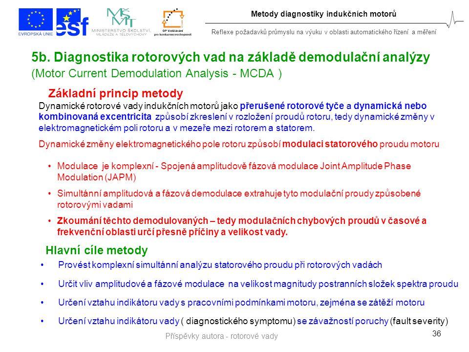 Reflexe požadavků průmyslu na výuku v oblasti automatického řízení a měření Metody diagnostiky indukčních motorů 36 5b. Diagnostika rotorových vad na