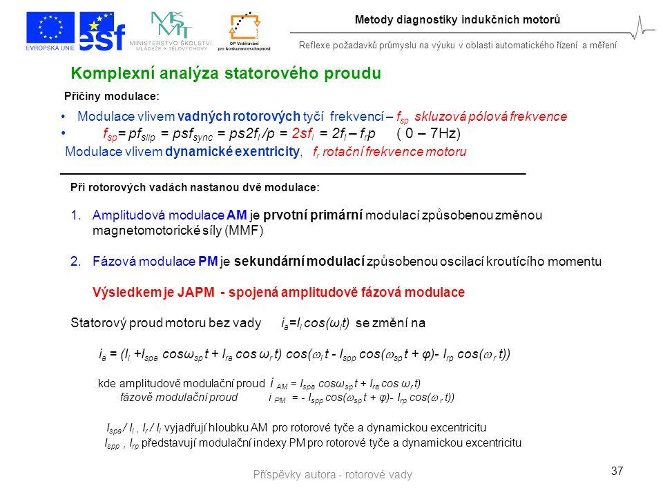Reflexe požadavků průmyslu na výuku v oblasti automatického řízení a měření Metody diagnostiky indukčních motorů 37 Komplexní analýza statorového prou