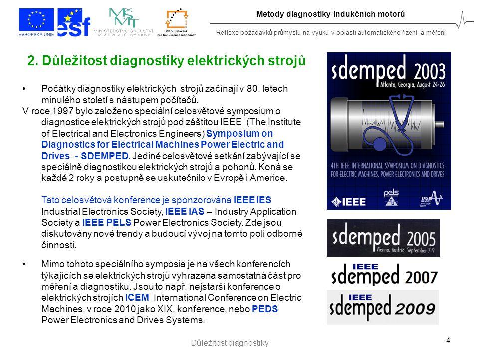 Reflexe požadavků průmyslu na výuku v oblasti automatického řízení a měření 4 2. Důležitost diagnostiky elektrických strojů Počátky diagnostiky elektr