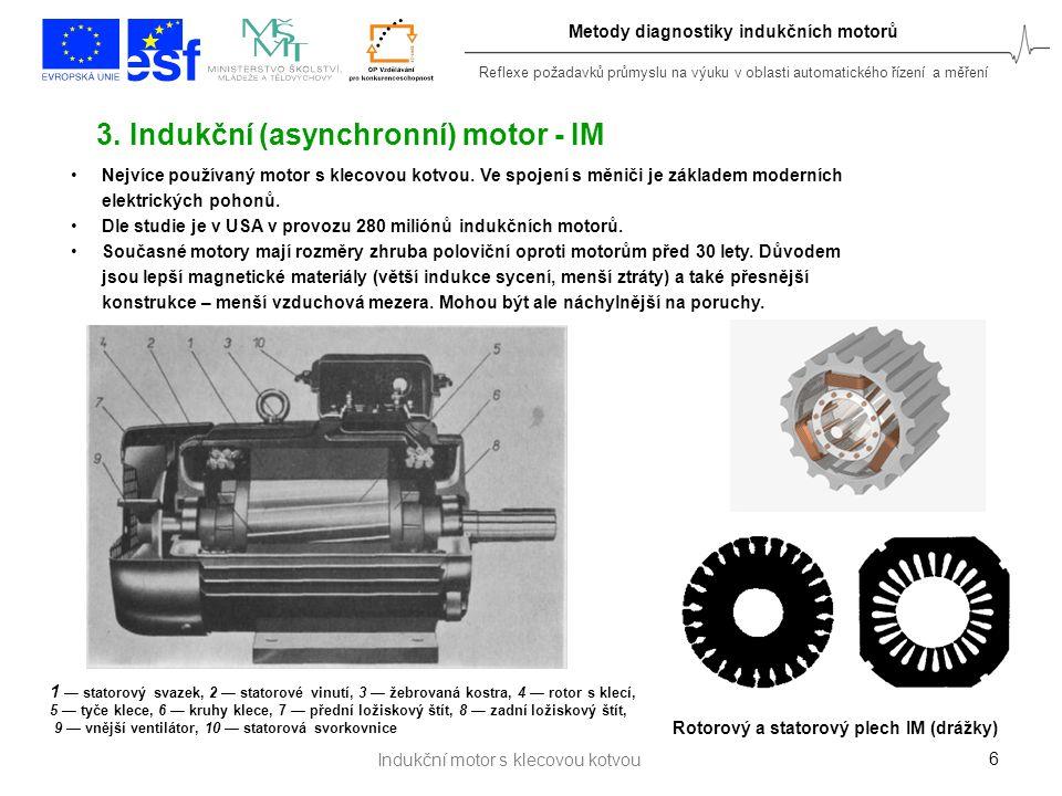 Reflexe požadavků průmyslu na výuku v oblasti automatického řízení a měření 7 Vzduchová mezera hřídel Rotorové tyče Rotorové plechy stator rotor Rotorový věnec vinutíjádro Indukční motor s klecovou kotvou Metody diagnostiky indukčních motorů