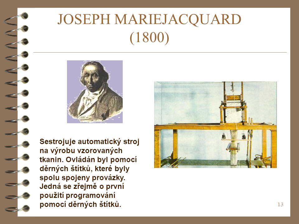 13 JOSEPH MARIEJACQUARD (1800) Sestrojuje automatický stroj na výrobu vzorovaných tkanin.