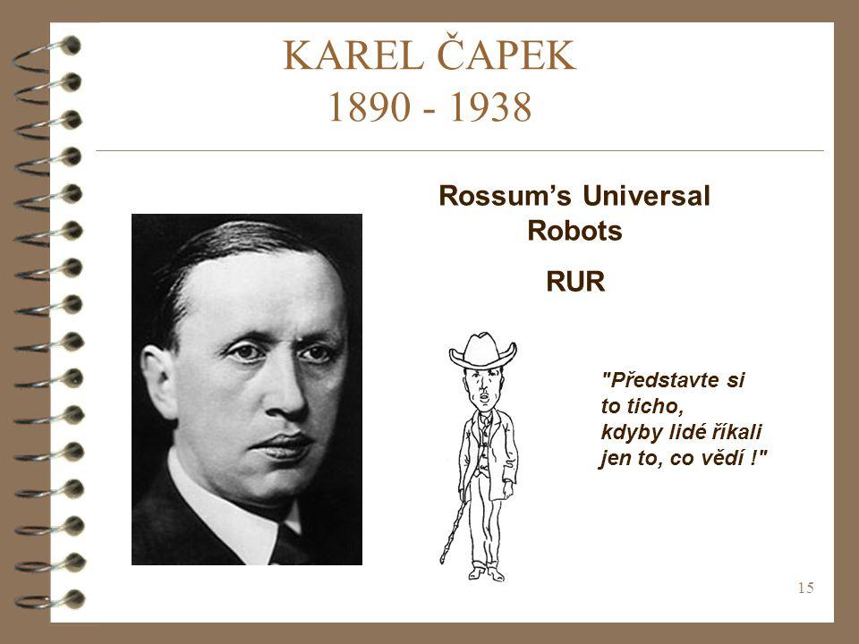 15 KAREL ČAPEK 1890 - 1938 Rossum's Universal Robots RUR Představte si to ticho, kdyby lidé říkali jen to, co vědí !