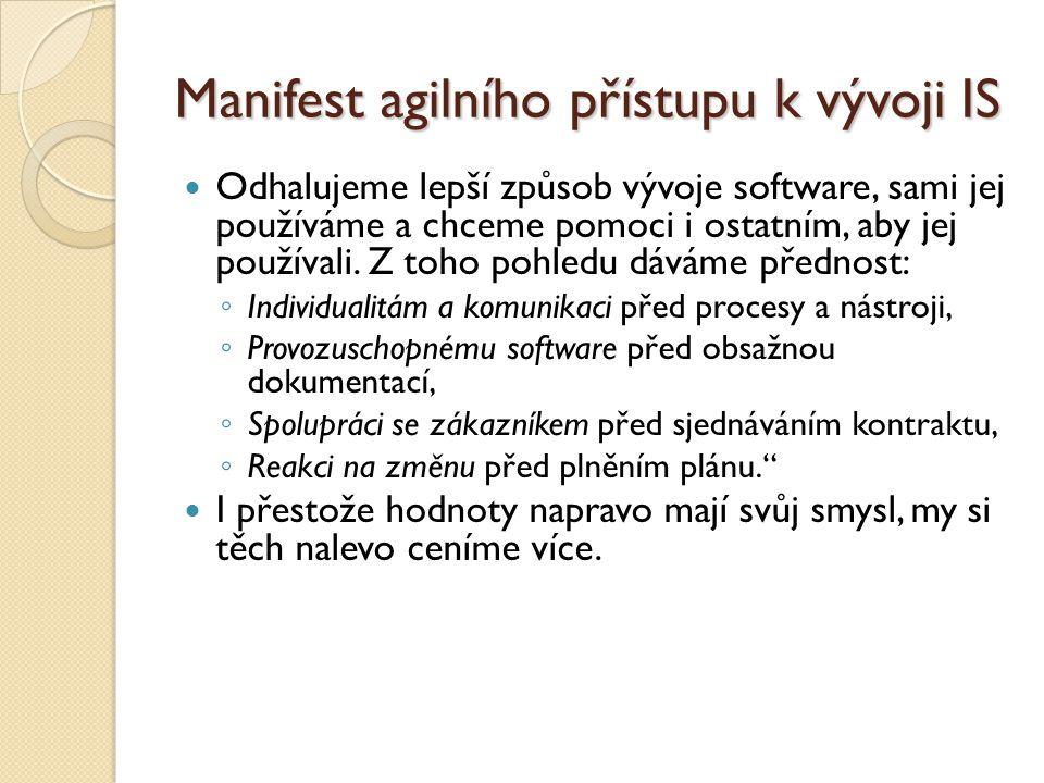 Manifest agilního přístupu k vývoji IS Odhalujeme lepší způsob vývoje software, sami jej používáme a chceme pomoci i ostatním, aby jej používali. Z to