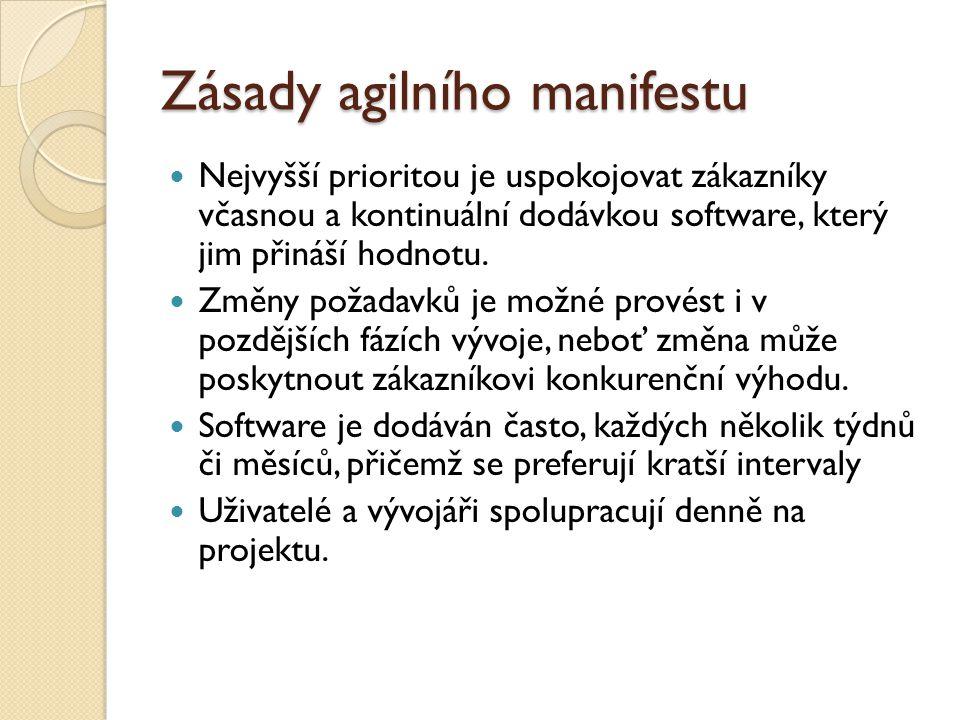 Zásady agilního manifestu Nejvyšší prioritou je uspokojovat zákazníky včasnou a kontinuální dodávkou software, který jim přináší hodnotu. Změny požada