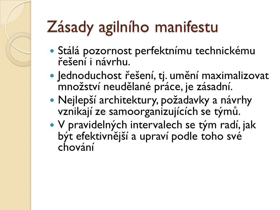 Zásady agilního manifestu Stálá pozornost perfektnímu technickému řešení i návrhu. Jednoduchost řešení, tj. umění maximalizovat množství neudělané prá