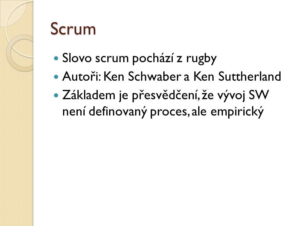Scrum Slovo scrum pochází z rugby Autoři: Ken Schwaber a Ken Suttherland Základem je přesvědčení, že vývoj SW není definovaný proces, ale empirický