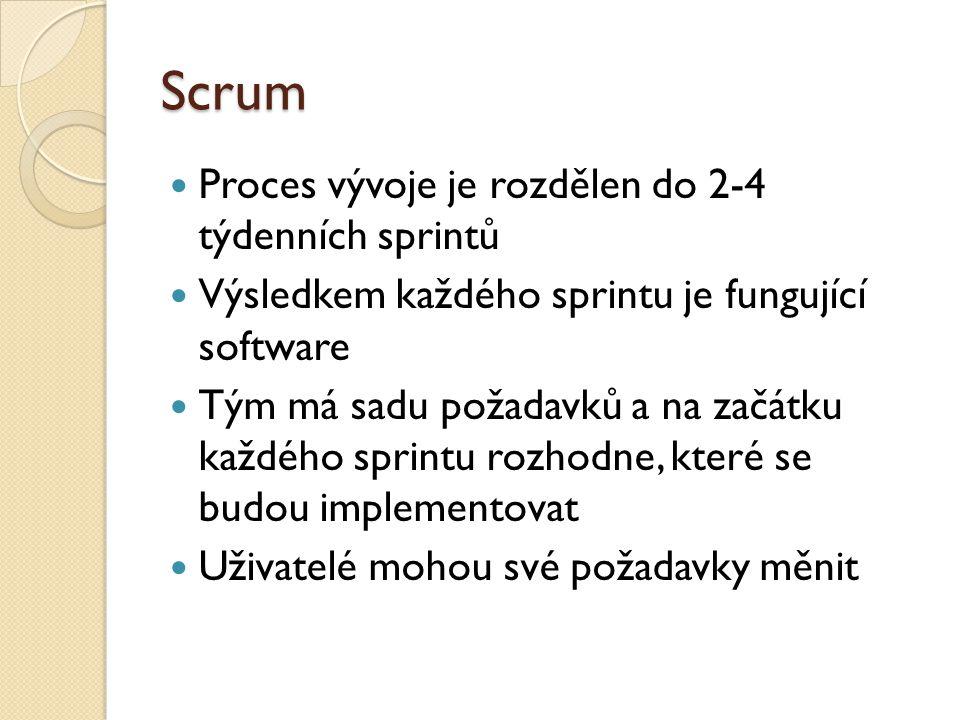 Scrum Proces vývoje je rozdělen do 2-4 týdenních sprintů Výsledkem každého sprintu je fungující software Tým má sadu požadavků a na začátku každého sp